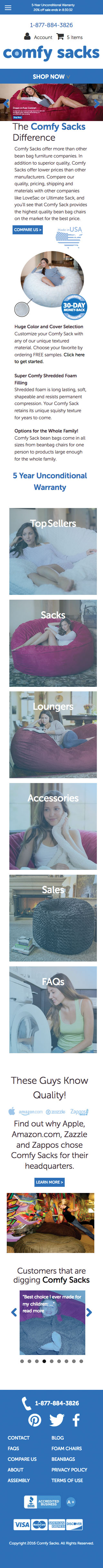 A mobile view of the entire Comfy Sacks Homepage