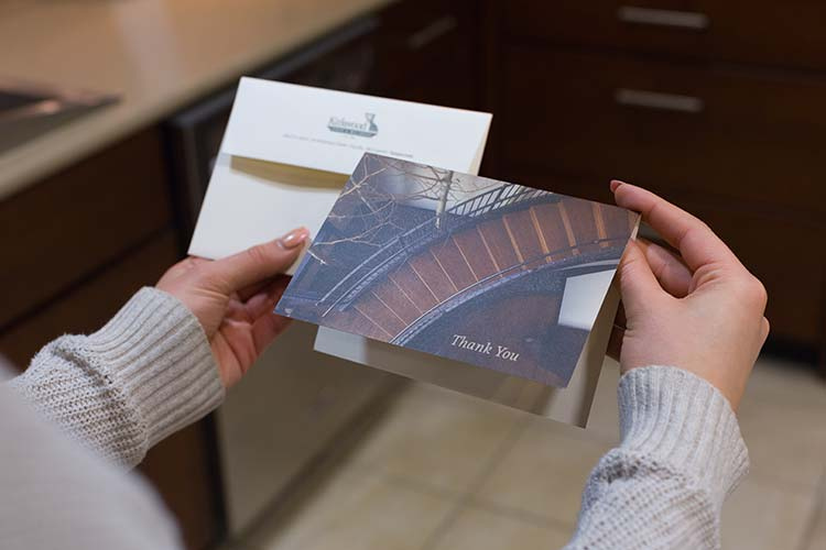 A thank you card featuring a big, winding staircase for Kirkwood Stair
