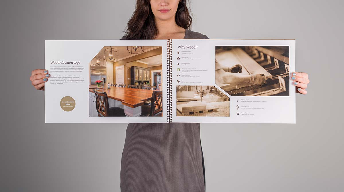 An open wood countertop sample guide showing details about wood countertops and also explaining why wood is preferable