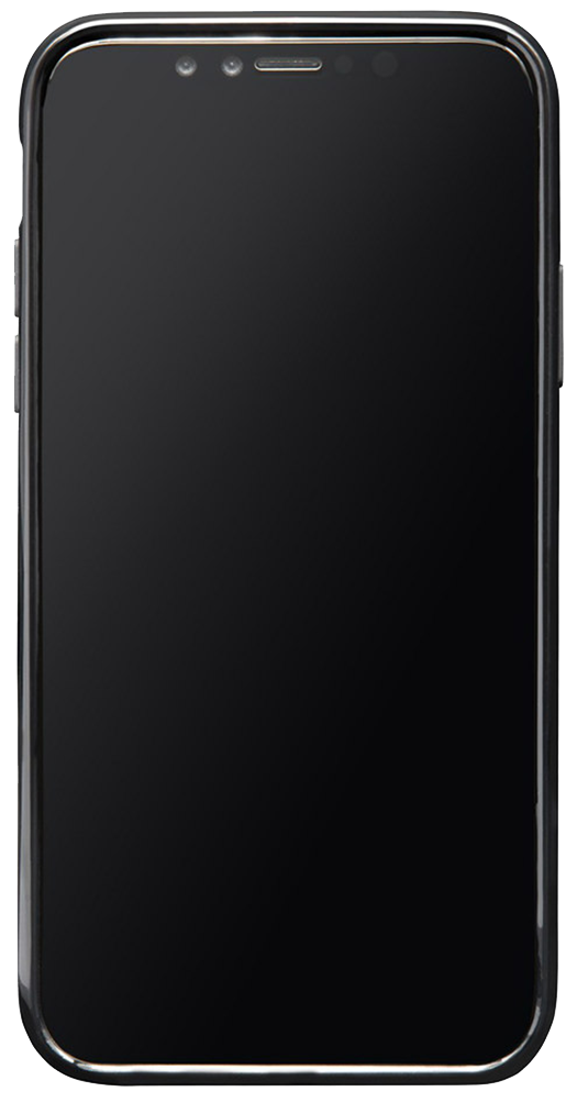 A black, glossy smartphone containing an interactive KStair iframe
