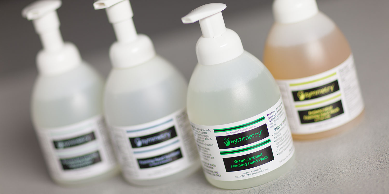 An image of a collection of Symmetry Hand Hygiene products featuring Green Certified Foaming Hand Wash